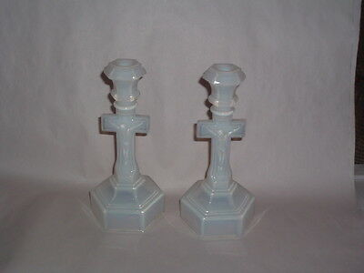American Possibly New England. Opalescent Crucifix Candlesticks 1860