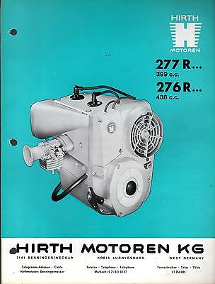 HIRTH SNOWMOBILE ENGINES SPECIFICATION BROCHURE 277 R & 276 R 399 & 438 CC