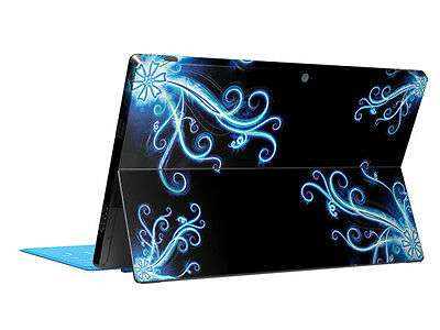 Blue Flowers Black Tablet Skin Sticker Cover Protector For Microsoft Surface RT