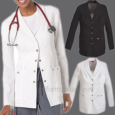 "Women Dickies Lab Coat Xtreme Stretch Long Sleeve 28"" Snap Front Scrubs Jacket"