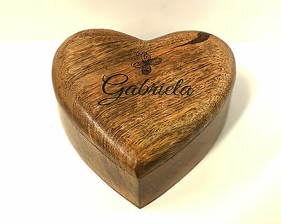 "Personalised ""LARGER"" Genuine Mango Wood Memorial Ashes Casket / Box 3 sizes"