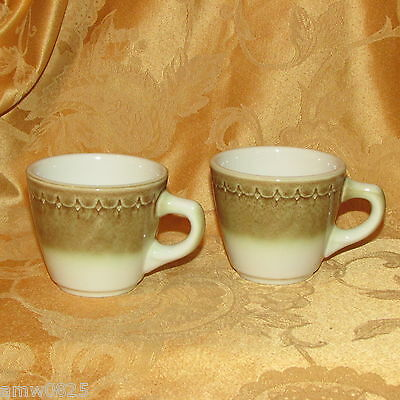 2 VINTAGE SYRACUSE CHINA CINNAMON COFFEE CUPS U.S.A. RESTAURANT WARE MUG