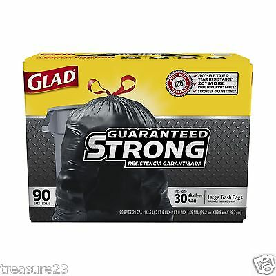 Glad Extra Strong Drawstring Large Trash Bags, 30 Gallon 90 Count  No SALES TAX
