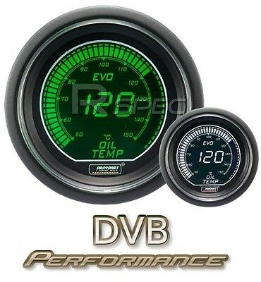 Prosport 52mm EVO Car Oil Temperature Gauge  LCD Digital Display Green and White