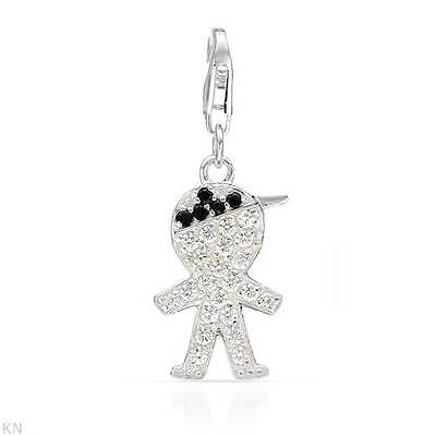 """""""BOY"""" Clip On Charm with Pave Zirconia Set in 925 Sterling Silver  BNWOT"""