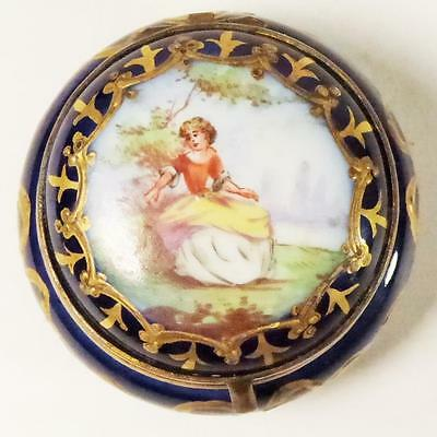 Antique French Porcelain Sevres Style Gilt Metal Spill Pox Painted Enamel
