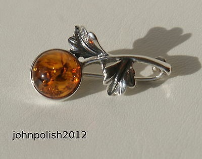 Nice Baltic Amber Brooch with Leaves on Silver 925