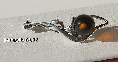 Cute Baltic Amber Brooch with Silver 925