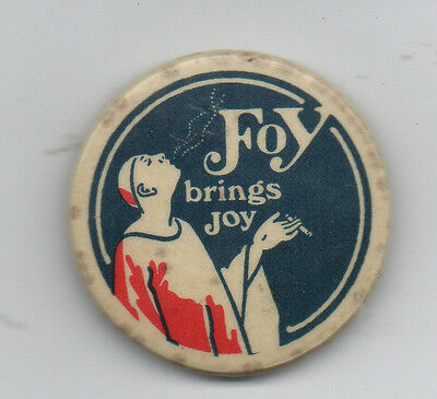 "Large 1920s Celluloid Advertising Pinback for Foy Cigarettes "" Foy brings Joy """