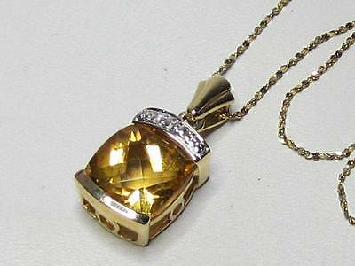 """14K Solid Yellow Gold Large Citrine & Diamond Pendant Necklace 18"""" Chain Italy"""