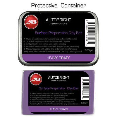 Autobright Car Cleaning surface perfection Heavy Detailing Clay 100g Metal Tin