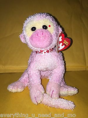 """RARE & RETIRED TY BEANIE BABY~POET THE PINK VALENTINES DAY MONKEY 7""""~DIRTY"""