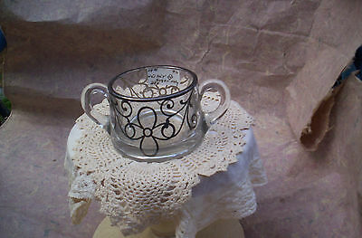 VINTAGE HEISEY GLASS SUGAR BOWL W/SILVER OVERLAY-SIGNED MPN 757