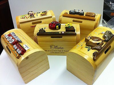 Personalised childs wooden money box engraved free,