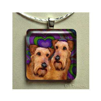 Irish Terrier Dogs Necklace Pet Art Gift Jewelry Glass Tile Pendant With Chain