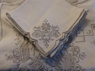 VINTAGE 30s LARGE BANQUET MADEIRA LACE CUTWORK TABLECLOTH & 12 NAPKINS