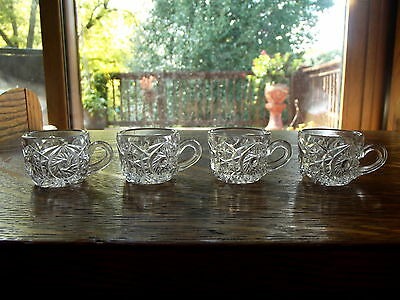 EAPG (4) childs size toy Punch Cups Whirligig Buzz-star US Glass Co 1905 Rare