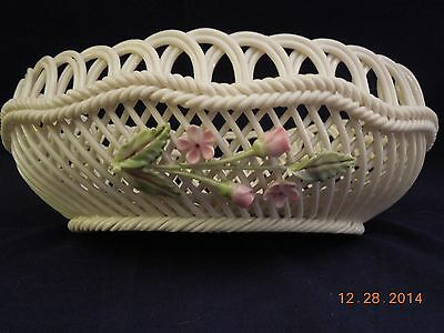 Belleek White Oval Basket with Roses and Buds