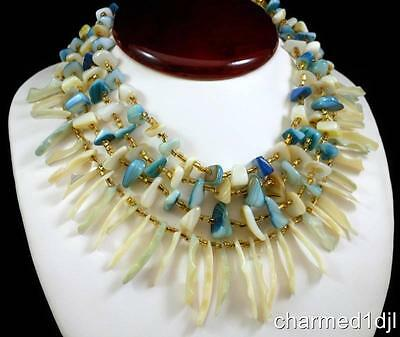 """Vintage Mother-of-Pearl MOP Multi Strand Statement Necklace 16""""L Japan Gorgeous!"""