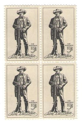 Sam Houston Texas Politician Soldier Alamo 50 Yr Old Mint Stamp Block  from 1964