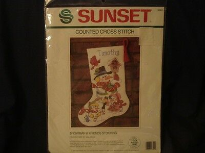 Dimensions Counted Cross Stitch Stocking Kit Christmas Snowman Craft VTG 1989