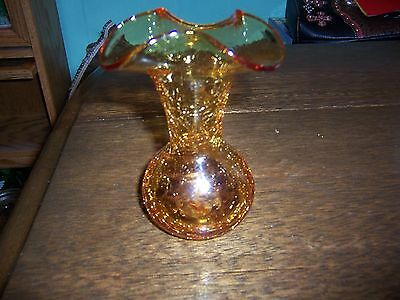 AMBER CRACKLE VINTAGE BLOWN GLASS VASE