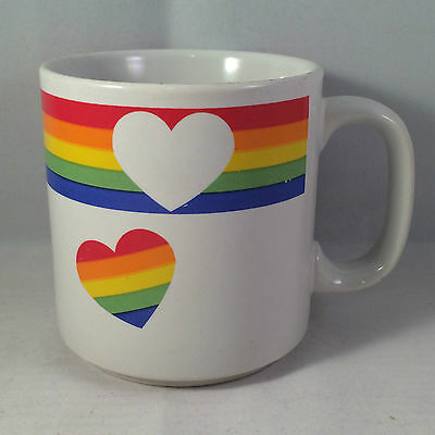 Russ Rainbow Hearts Coffee Mug Cup LBGT Gay Pride Cutout Happy White Colors