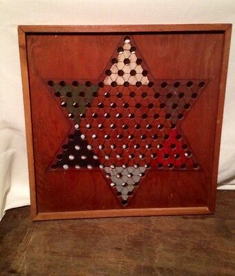 Vintage Early 20th Century Folk Art Chinese Checkers Board Handmade Game 16""