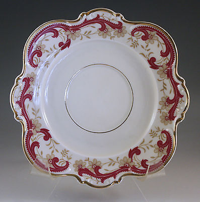 VINTAGE HUTSCHENREUTHER #7226 SAUCER, RED SCROLLS, SCALLOPED, SQUARE, GOLD