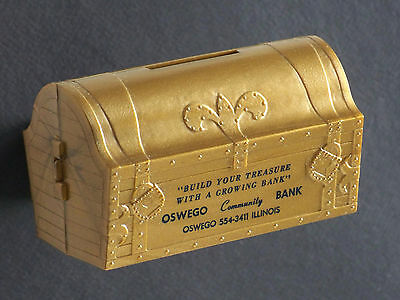 Vintage OSWEGO ILL Community Bank Advertising Promotion TREASURE CHEST Coin Bank