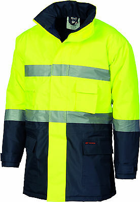 DNC - 3768 - Hi Vis PVC - Long Quilted Jacket with Reflective Tape - Yellow/Navy