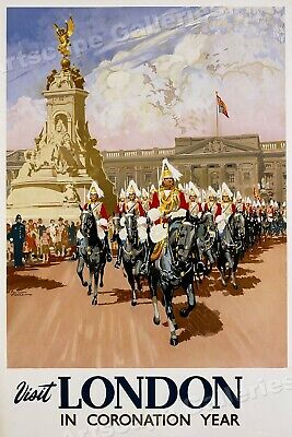 1953 Visit London in Coronation Year Vintage Style Travel Poster - 24x36