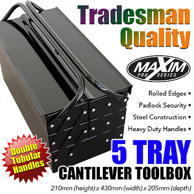 MAXIM PRO SERIES 5 Tray Cantilever Toolbox Portable Storage Mechanic Tool Box