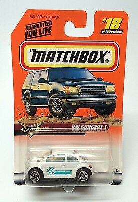 """1999 Matchbox """"VW Concept 1 Beetle"""" White Top Class Series #18 Of 100"""