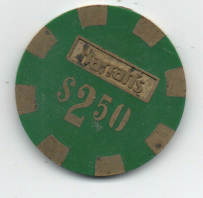 Old 2.50 Brass Inlaid Green Poker Chip from Harrah's Casino
