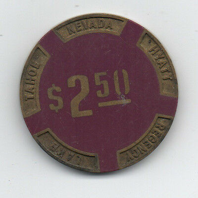 Old Brass Inlaid 2.50 Purple Poker Chip from the Hyatt Regency