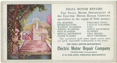 A vintage color advertising Ink blotter Electric Motor Repair , 1930's