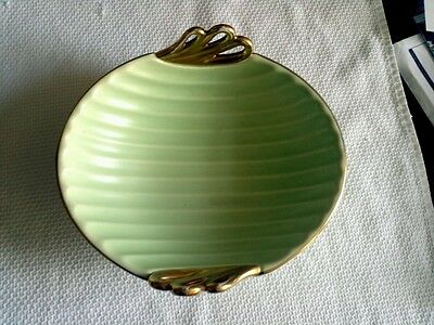 Crown Devon Fieldings Green with Gold handled Dish.