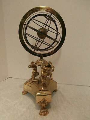 SILVER ARMILLARY SPHERE ATOP IMPRESSIVE  BRONZE/BRASS STAND - MUST SEE