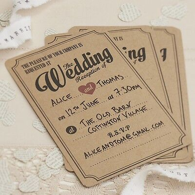 EVENING / RECEPTIONS WEDDING INVITATION - 10 Pack - Vintage Style - Brown Kraft