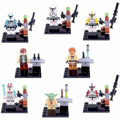 Lots of 8 Sets Minifigures Building Toys STAR WARS Series Blocks Toy