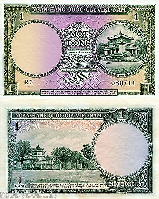 VIETNAM South 1 Dong Banknote World Paper Money Grade XF Currency Pick p-1