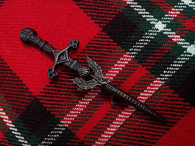 T.C New Highland Scottish Thistle Kilt Pin Black Chrome Finish/Brooch Kilt Pins