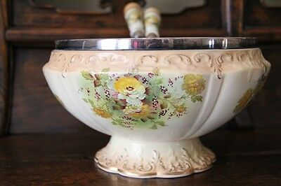 Antique Crown Devon bowl serving  spoons Stoke on Trent blush hand painted