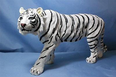 New Stalking White Bengal Tiger Cat w Blue Eyes Statue Figurine Sculpture