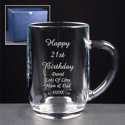 Personalised Engraved Pint Glass Tankard 18th 21st 30th Birthday Free Gift Box