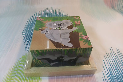 Wooden Children's Educational Australian Animal Cube Puzzle Toy Game -6 Puzzles!