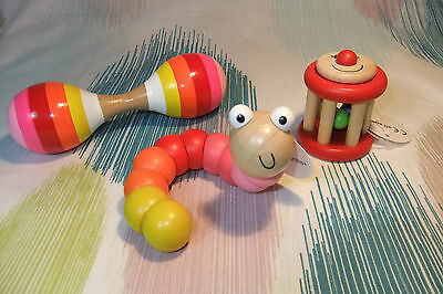 Kaper Kidz Pink Girl Infant Wooden Jointed Worm, Rattle & Maraca Value Pack!