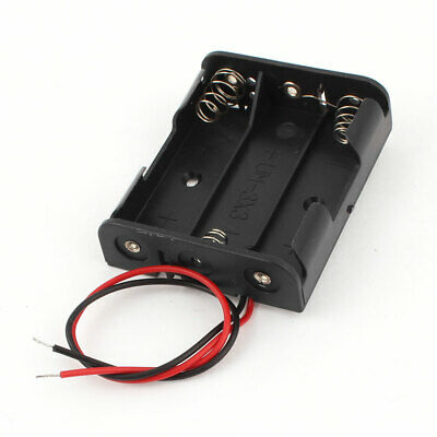 """6"""" Wire Leads Plastic 3 x 1.5 V AA Battery Storage Case Holder Black"""