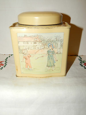 Vintage Creamy Yellow Kate Greenaway Collection Metal Tin Colonial Girls England